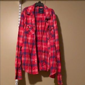 Red Button Down Flannel Top